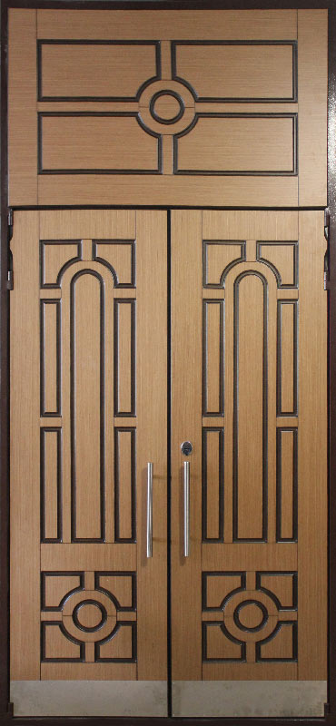 заказ металлических дверей с дубовым шпоном